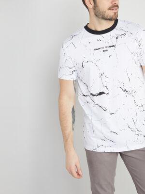 T shirt a motif en coton blanc homme