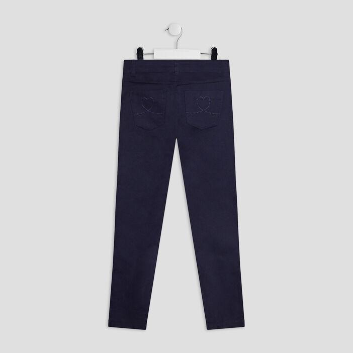 Pantalon skinny fille bleu marine