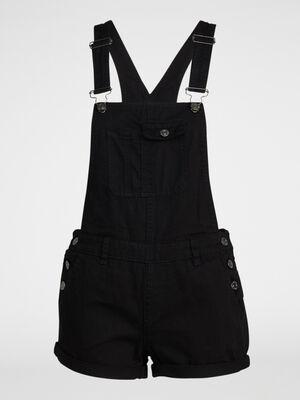 Salopette short en coton uni noir femme