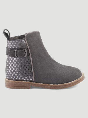 Bottines zippees bimatiere gris bebef