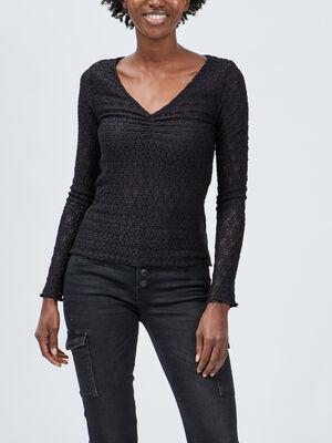 T shirt en dentelle Liberto noir femme