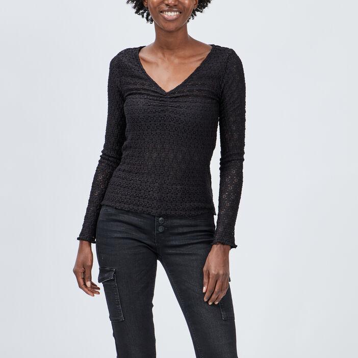 T-shirt en dentelle Liberto femme noir