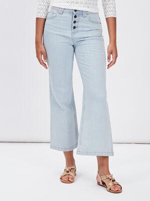 Jeans flare boutonne denim bleach femme