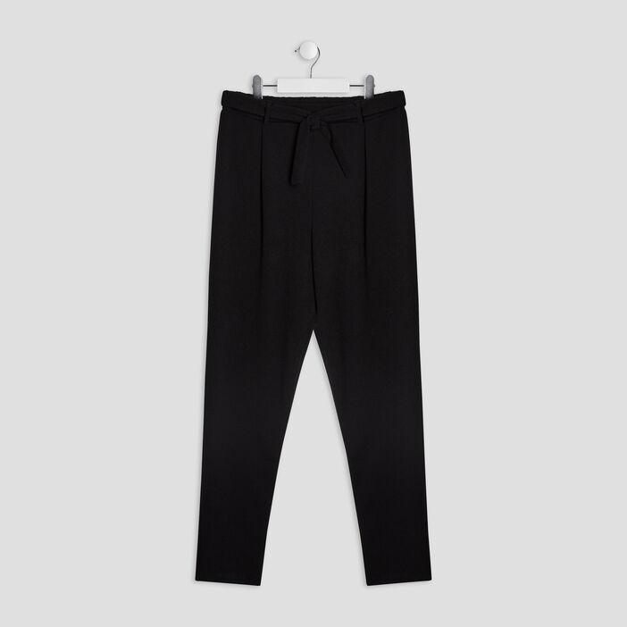 Pantalon droit ceinturé fille noir