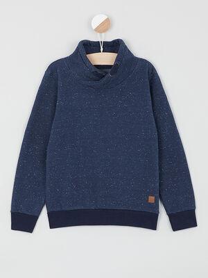 Sweat shirt mouchete col chale bleu marine garcon