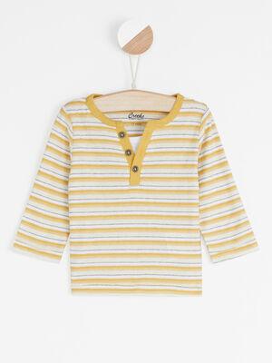 T shirt raye col tunisien jaune garcon