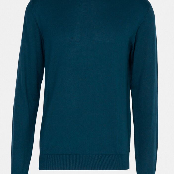 Pull uni col rond homme vert