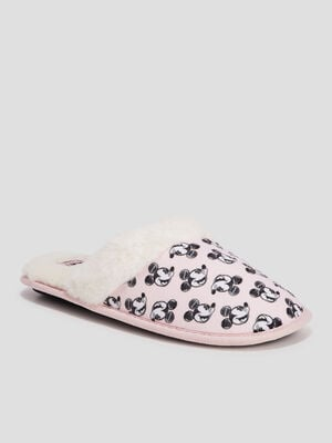 Chaussons mules Mickey rose poudree femme