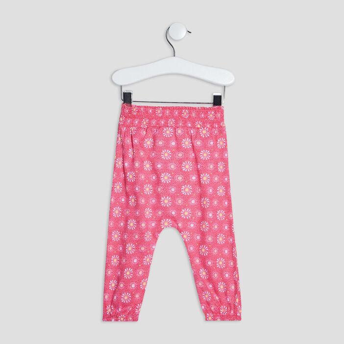 Pantalon droit bébé fille rose fushia
