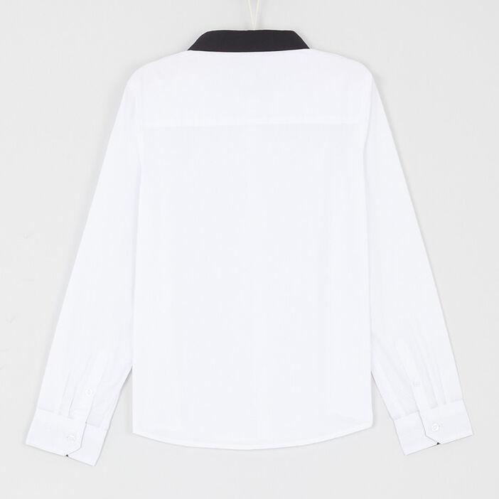 Chemise col contrasté coton mélangé garçon blanc