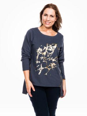 T shirt imprime avec dentelle fantaisie noir femme
