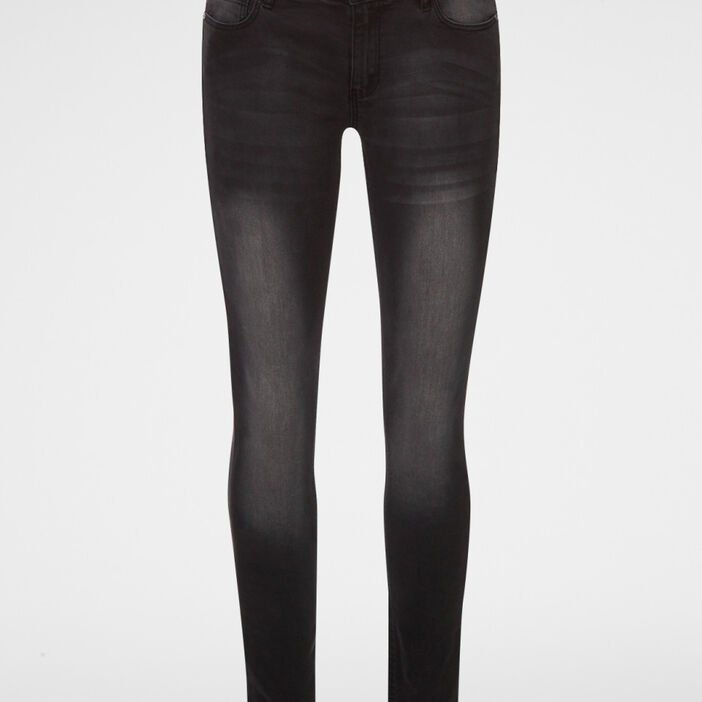 Jeans slim taille standard femme denim snow noir