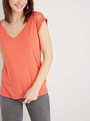 T shirt dentelle dos et epaules orange femme