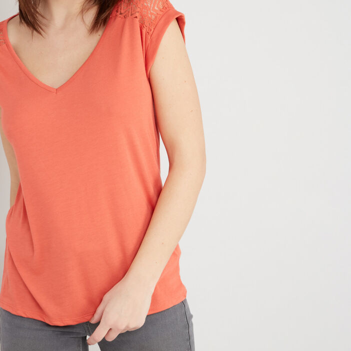 T-shirt dentelle dos et épaules femme orange