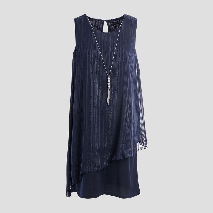Robe évasée à détail bijoux femme bleu
