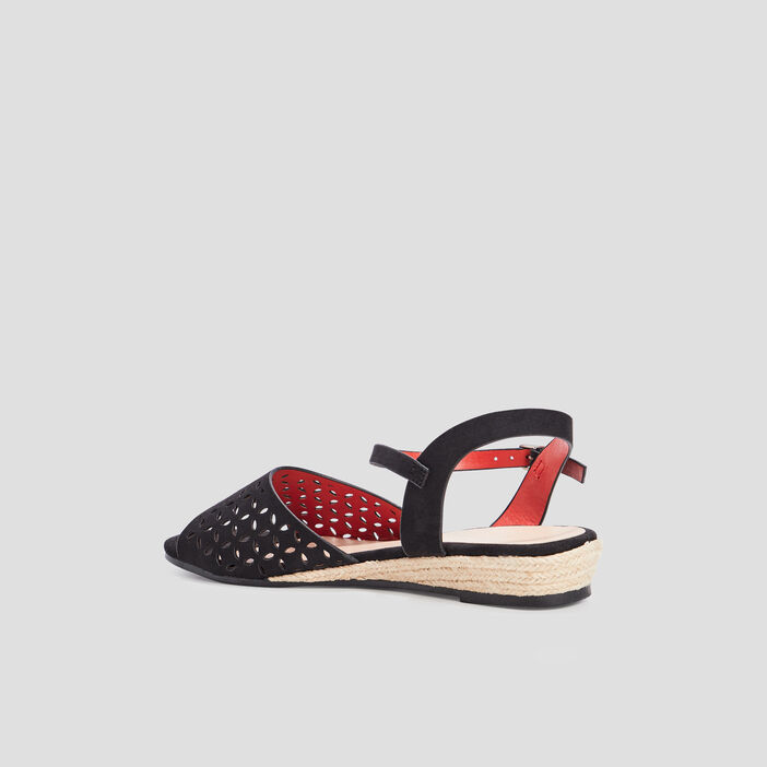 Sandales à talons compensés femme noir