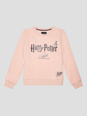 Sweatshirt rose clair fille