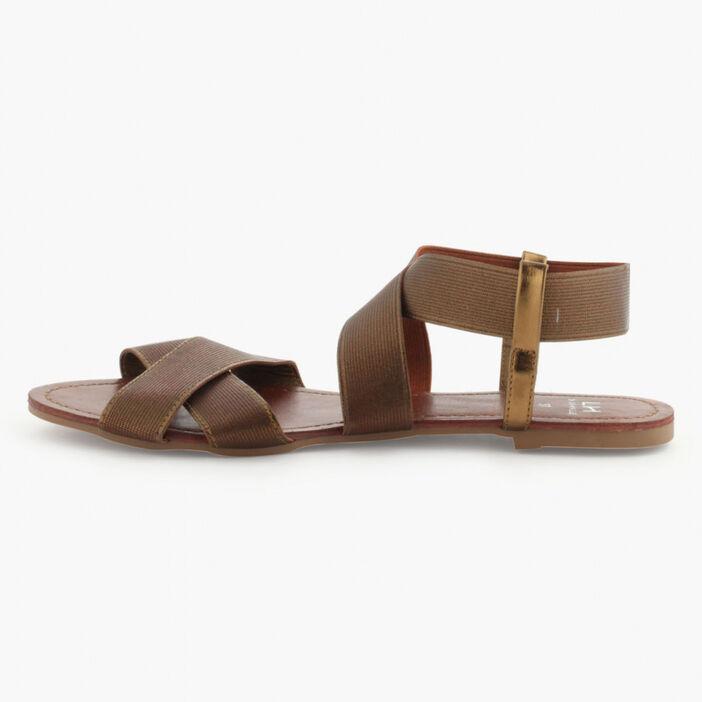 Sandales lanières extensibles femme marron
