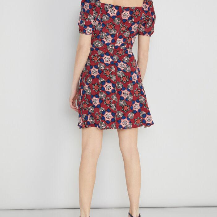 Robe évasée imprimée manches bouffantes femme rose framboise