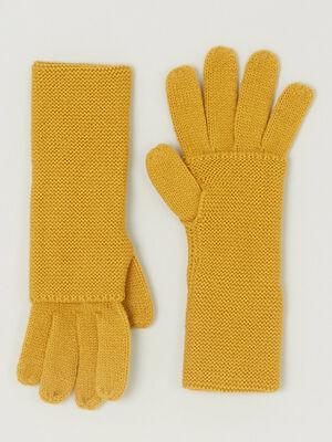 Paire de longs gants jaune moutarde femme