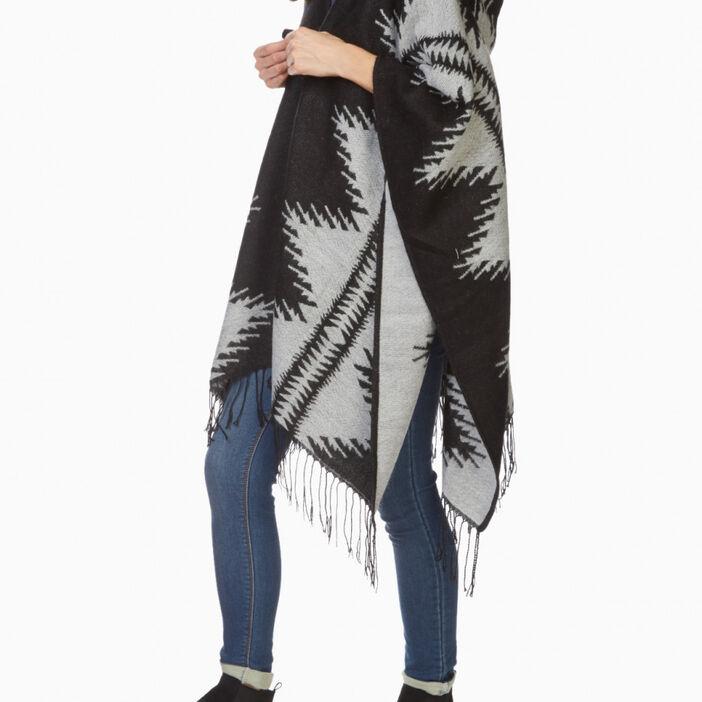 Poncho à capuche motif graphique mixte gris