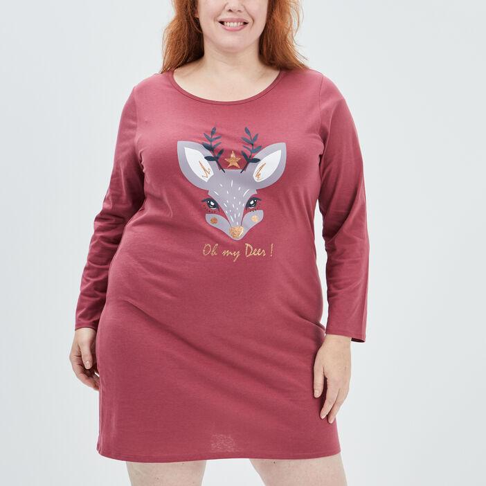 Chemise de nuit femme grande taille bordeaux