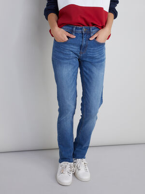 Jean slim effet use denim double stone homme