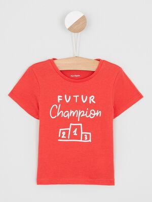 T shirt col rond message devant rouge garcon