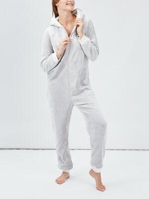 Combinaison de pyjama gris clair femme