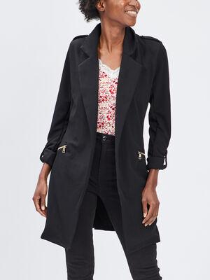 Veste droite fluide ceinturee noir femme