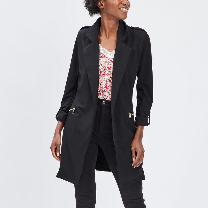 Veste droite fluide ceinturée femme noir