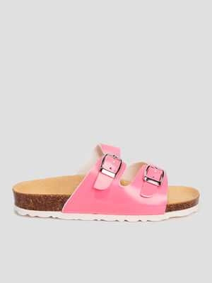 Mules plates rose fille
