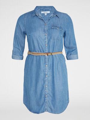 Robe chemise lyocell avec ceinture denim double stone femme