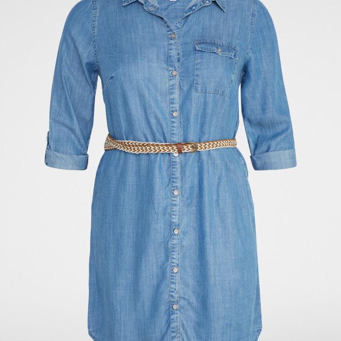 Robe chemise lyocell avec ceinture femme denim double stone