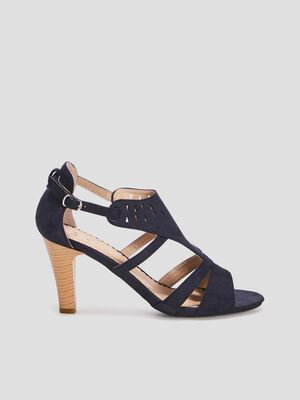 Sandales a talons suedees bleu femme