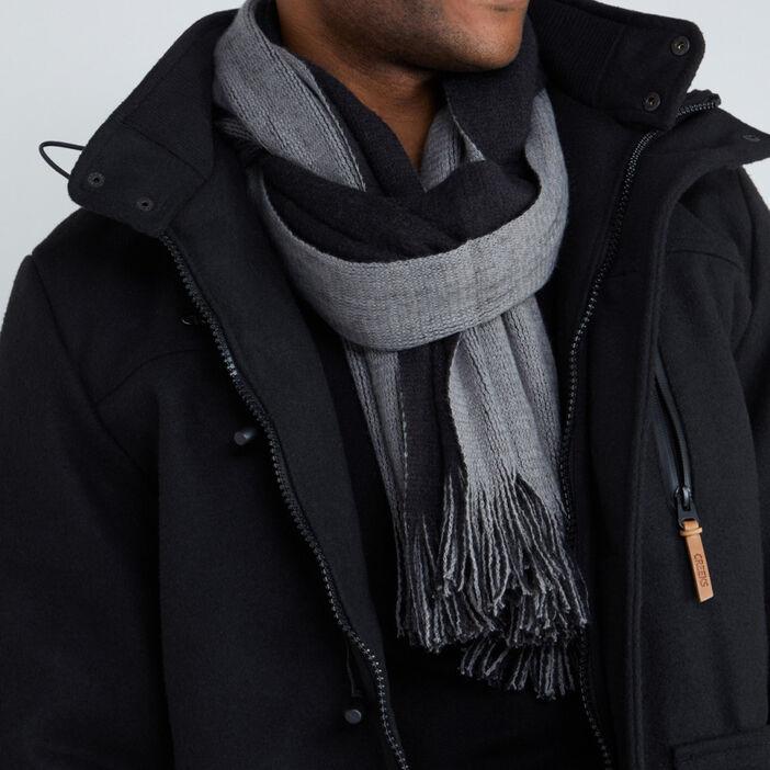 Echarpe double face à franges homme noir