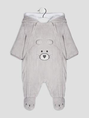 Combinaison a capuche gris clair bebeg