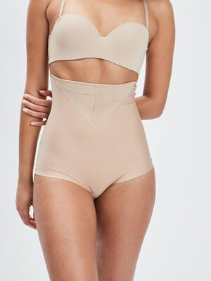 Culotte taille haute gainante microfibre beige femme