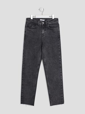 Jean droit 5 poches gris fonce fille