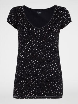 T shirt manches courtes imprime noir femme