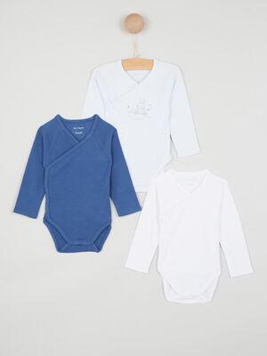 Lot de 3 body en coton bleu bebe