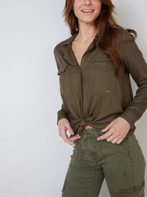 Chemise fluide avec col tailleur vert kaki femme