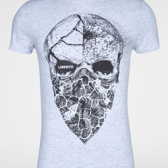 T-shirt chiné imprimé placé devant homme gris clair