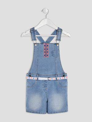 Salopette short en jean Creeks denim bleach fille