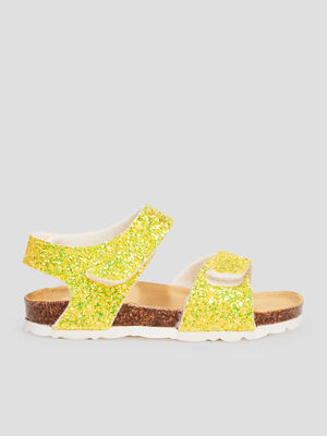 Sandales pailletees jaune fille