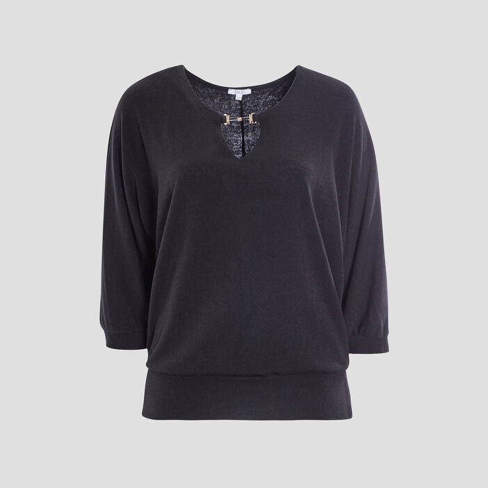 Pull manches 3/4 grande taille femme grande taille noir