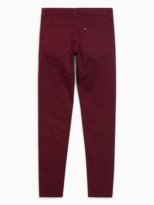 Pantalon skinny uni 5 poches bordeaux fille