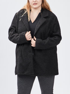 Manteau droit grande taille noir femmegt