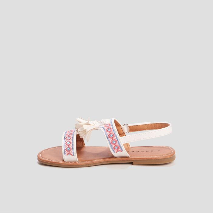 Sandales brodées Creeks fille blanc