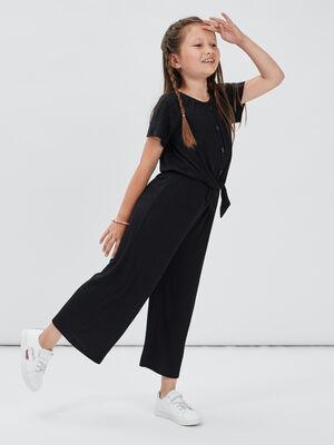 Combinaison pantalon cotelee noir fille